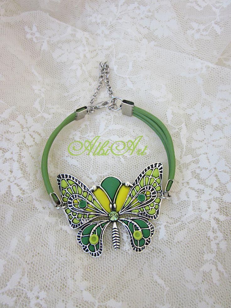 Pulsera mariposa arcilla polimérica verde