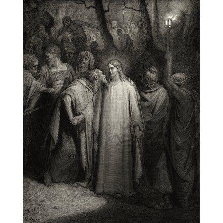 Der Kuss von Judas Iscariot küsst Jesus Christus im Garten von Gethsemane nach Gu …   – Bibelsprüche