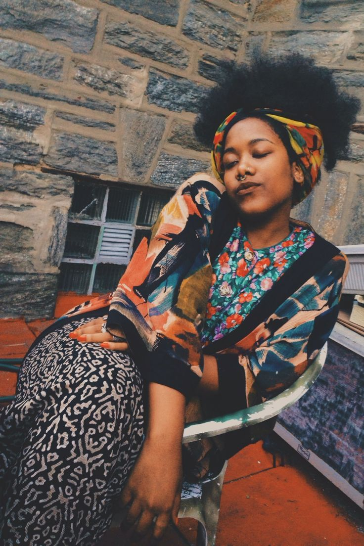 cool boho babe : african american : bohemian : mixed prints...