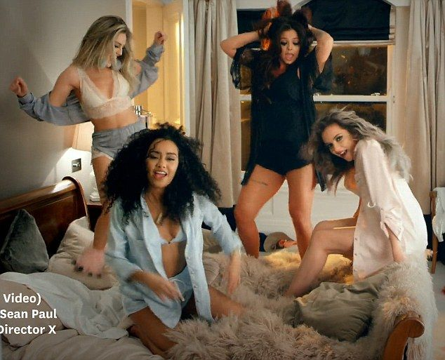 Shake it off: (From left) Little Mix's Perrie Edwards Jesy Nelson and Jade Thirlwall helpLeigh-Anne Pinnock get over a bad break-up in new music video, Hair