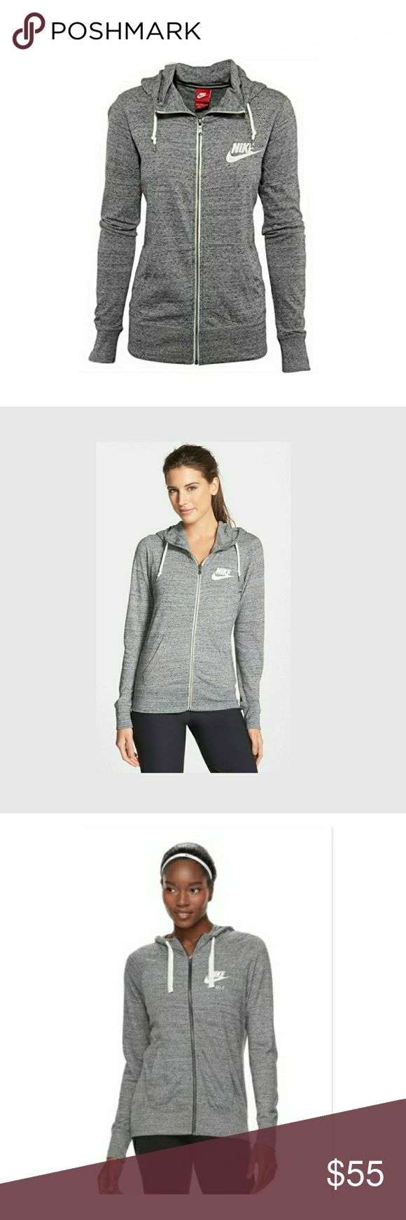 NIKE zip hoodie❤❤ brand new never been worn!! Women Nike gym vintage zip hoodie no tag but never been worn light gray color size large will fit medium too... great for running 😍😍 Nike Other