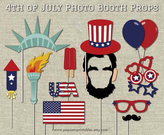 4th of July Photo Booth Props- Diy Instant Download- Adobe Reader- Farm Animals - Fireworks - Abraham Lincoln - Statue of Liberty - Flag