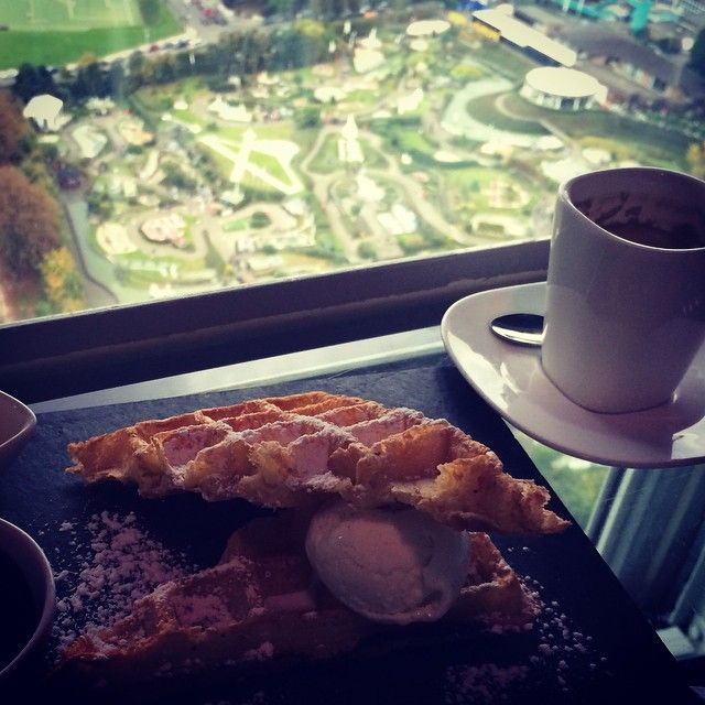 belgian waffle with view of mini europe at the background.i️#atomium #waffle