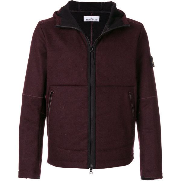 Stone Island hooded jacket (2.330 BRL) ❤ liked on Polyvore featuring men's fashion, men's clothing, men's outerwear, men's jackets, red, mens utility jacket, mens red jacket and mens patch jacket