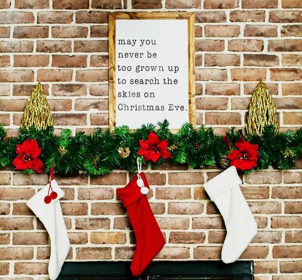 Wood Framed Signboard - Christmas Eve Skies - M - 18x26