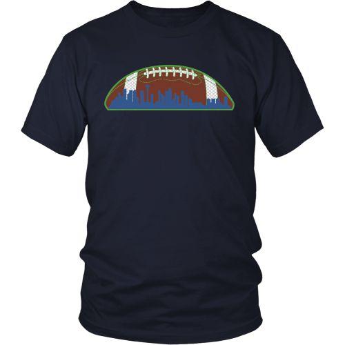 Seattle Skyline Football T shirt Mens (unisex)