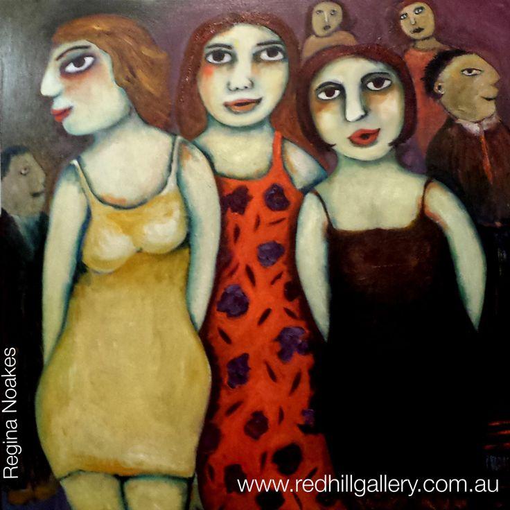 "Regina Noakes ""The Three Graces"" 91 x 91cm. Red Hill Gallery, Brisbane. www.redhillgallery.com.au"