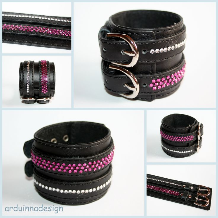 leather bracelet with swarovski elements hotfix