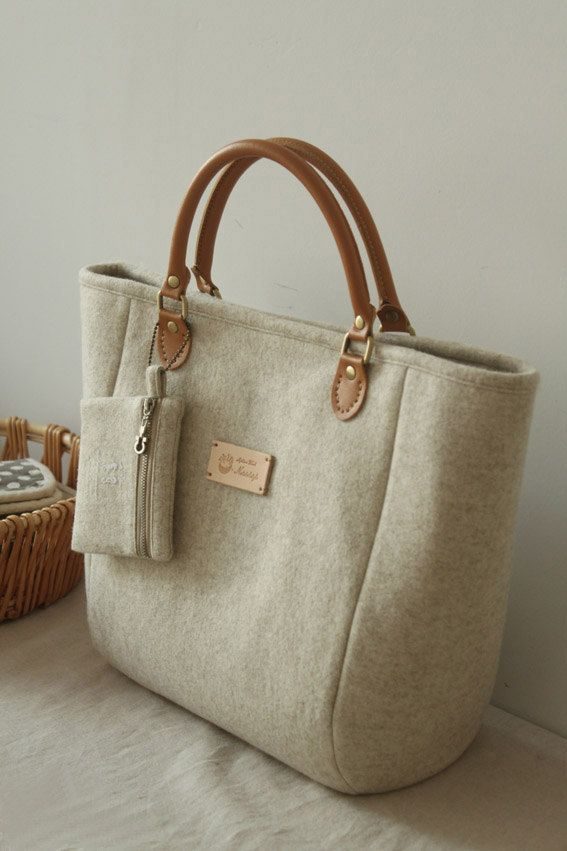 Tote Bag/ Handbag/ Wool  Felt Tote/ Purse/ by burlapdesign on Etsy, $56.00