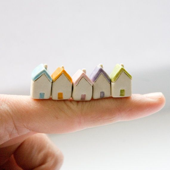 Miniature clay houses five ceramic porcelain tiny house Summer garden figurines. £9.95, via Etsy.