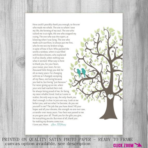 ... You, Poem Wedding Day Gift for Mother, Keepsake Gift Print, Thank You