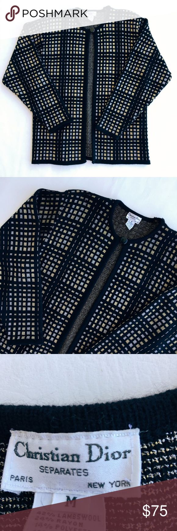 VTG Christian Dior Black Checkered Button Cardigan Vintage Christian Dior black checkered pattern one button cardigan sweater 🖤 great condition / wool rayon polyester and rabbits hair / size women's medium Christian Dior Sweaters Cardigans