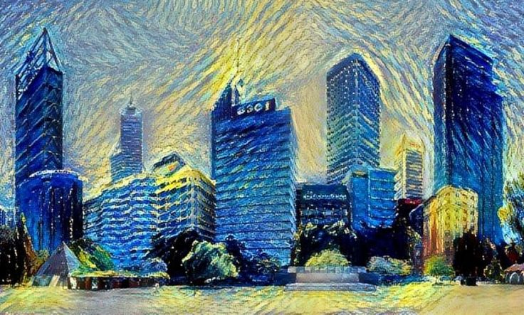 Pictured: #DeepDream of #Perth in the style of #VanGogh    #MachineLearning - looking for patterns in pictures   Particle