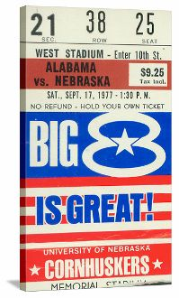 Football Art. 1977 Nebraska vs. Alabama Football Ticket Canvas Art. Tom Osborne's first win over a top 5 team. The Huskers beat Bear Bryant's Alabama team on this day in 1977. Great Nebraska football art for a game room or office.