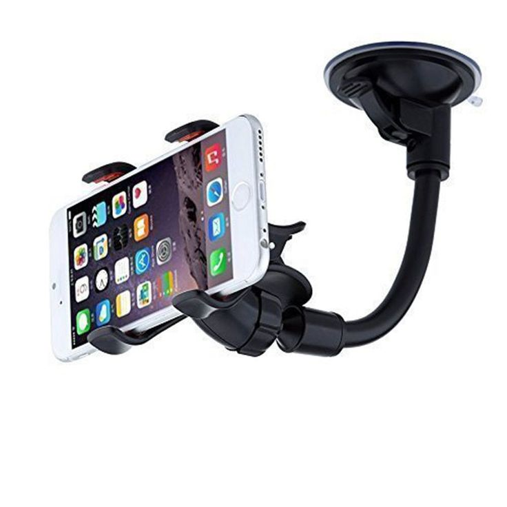Long Arm Universal Car Mount Holder With 360 Degree Rotation Black