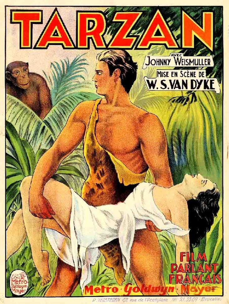 Johnny Weissmuller as Tarzan, French movie poster