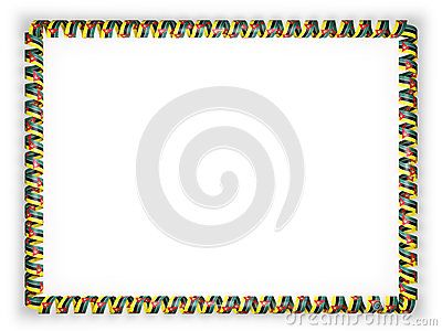 Frame and border of ribbon with the Mozambique flag. 3d illustration.