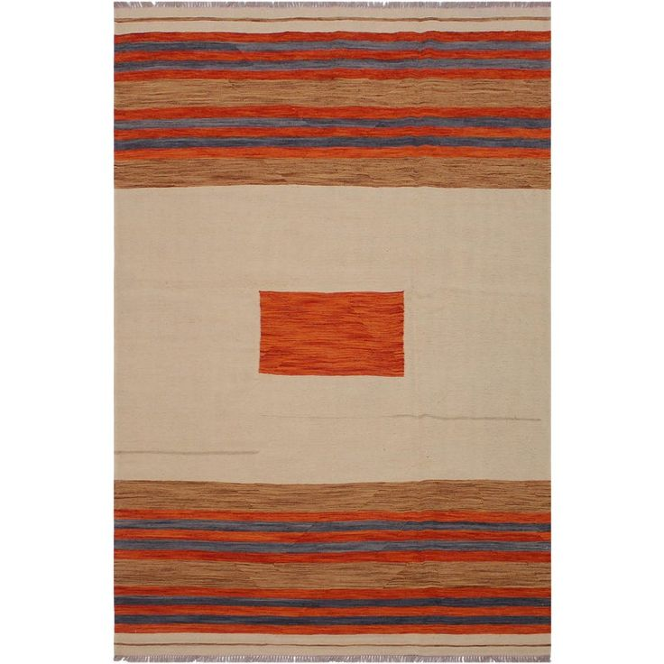Kilim Allene Tan Hand-Woven Wool Rug -5'8″ X 8'2″