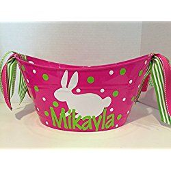 Personalized oval Bunny Easter tub Bucket