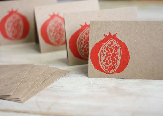Blank Note Card Set of 4 Red Pomegranate Block Lino Cut Stamped Hand Printed Brown Kraft Envelopes Holiday Hostess Gift