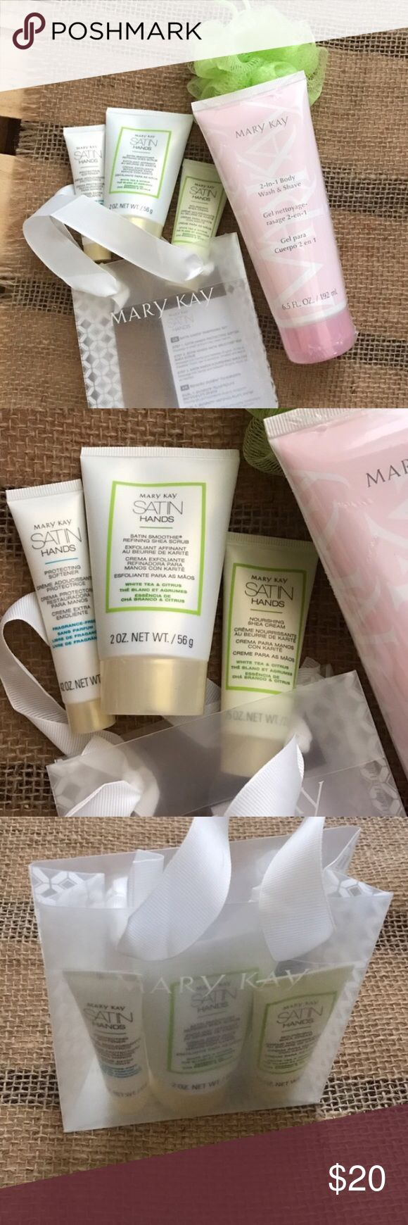 Mary Kay Satin Hands + 3-in-1 Body Wash Bundle Full size 3-in-1 Body Wash / Shave Gel + Free Bath Sponge. Mary Kay Mini Deluxe Satin Hands Set with bag. ❌Not for individual sale. NO trades. Price is firm unless bundled. Mary Kay Makeup