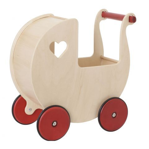Back in Stock! Moover Dolls Pram Natural (also available in red). #oompatoys