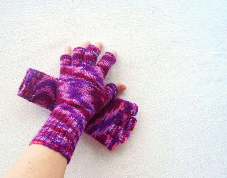 Pletené+bezprsťáky+(obvod+dlaně+17+-19+cm)+ručně+pletené+rukavičky+bezprsťáky+velmi+pružné,+delší+na+zápěstí,+fialový+…