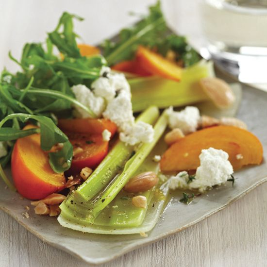 Leek Salad with Persimmons and Almonds | Here, Hugh Acheson creates a salad based on butter-braised leeks, a French favorite.