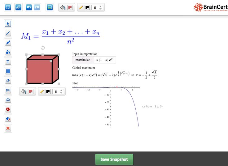 BrainCert whiteboard editor features painting and drawing tool, highlighter, draw grids, image library, LaTeX math equations, import graphics, draw shapes & symbols, wolfram alpha outputs, save snapshots, and a lot more.