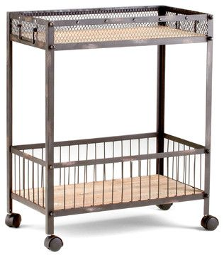 Industrial Loft Raw Steel Reclaimed Wood Iron Serving Bar Cart  kitchen islands and kitchen carts