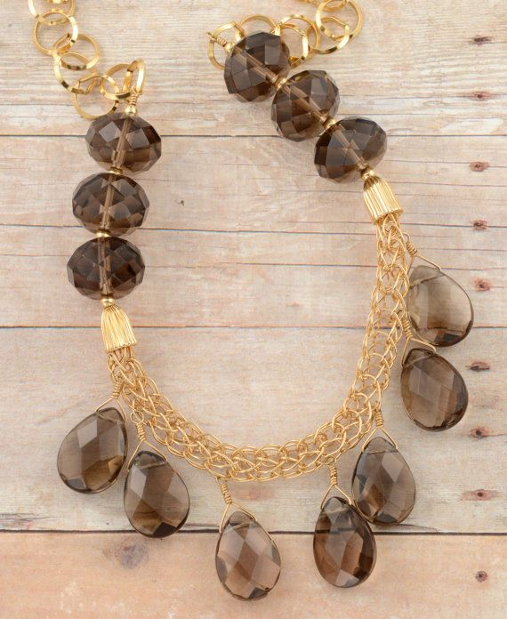Knitted gold-filled wire necklace, Smoky quartz necklace, OOAK necklace, artisan necklace, Mother's Day gift, ready to ship necklace