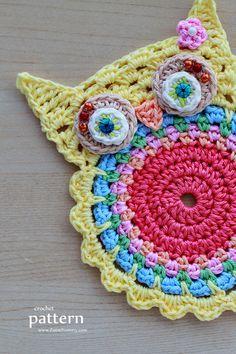 Crochet Owl Coasters (Appliques) Inspiration ༺✿Teresa Restegui http://www.pinterest.com/teretegui/✿༻