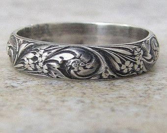 Antigua banda flores anillo plata vid hoja Floral por SilverSmack