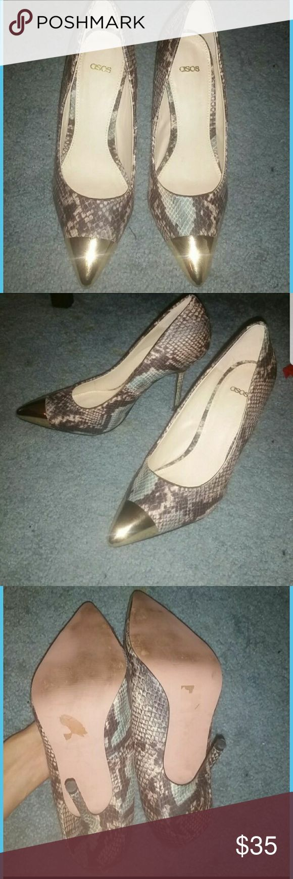 ASOS gold cap blue snake print pumps 8 Beautiful and rare find. Looks amazing with jeans. These are so comfortable! ASOS Shoes Heels