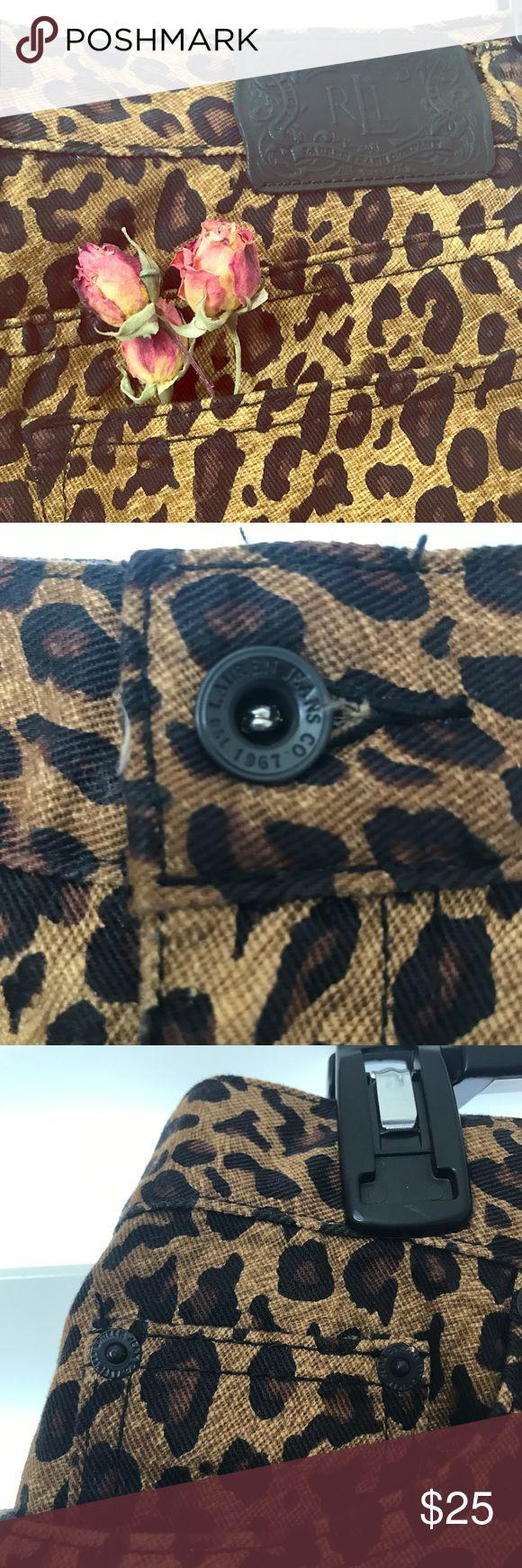 Ralph Lauren Cheetah Print Skirt Like new denim skirt featuring front and back pockets, iconic animal print, and a back slit. Ralph Lauren Skirts Midi