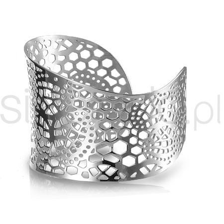 Elegancka, asymetryczna, ażurowa bransoleta stal szlachetna 77-BA061