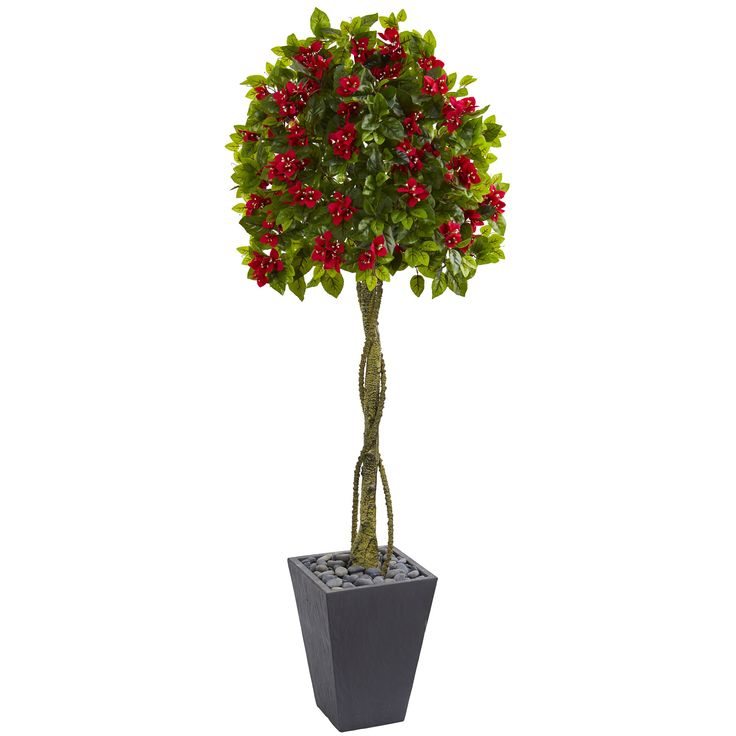 This artificial bougainvillea tree has brilliant bright red blooms, lifelike green leaves, and a thick, realistic trunk twisted with roots. It's been crafted to look like it's really growing from the included slate planter with river rocks. Place this next to your desk to liven up your office.