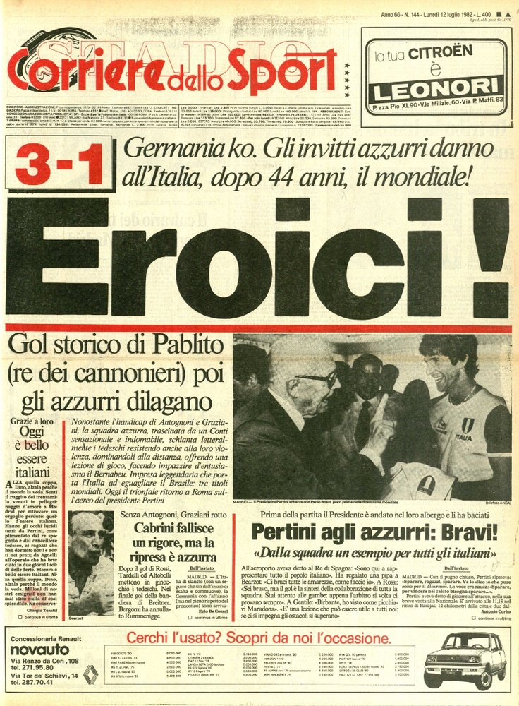 11 luglio 1982 Italia Campione del Mondo per la terza