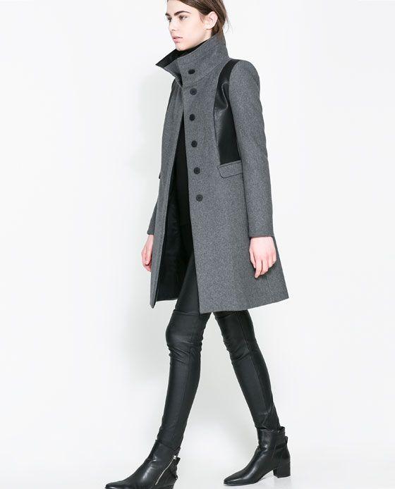COMBINED WOOL COAT from Zara Ref. 8026/308  $179