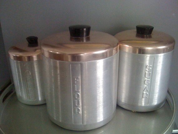 Vintage Kitchen Canister Set Of 3 Aluminum Copper RETRO Mad Men Style Mid  Century Kitsch