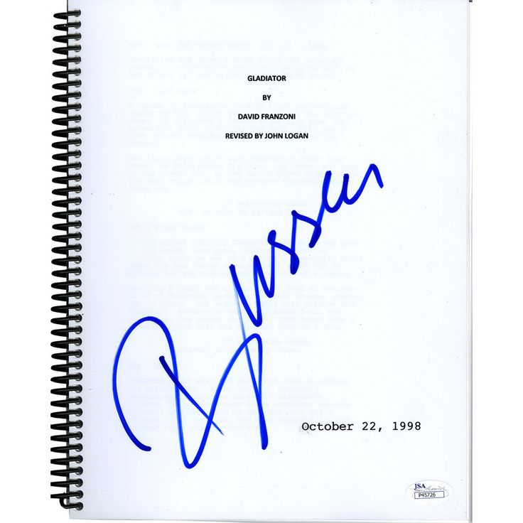 Russell Crowe Signed Gladiator Full Movie Script (JSA Holo)