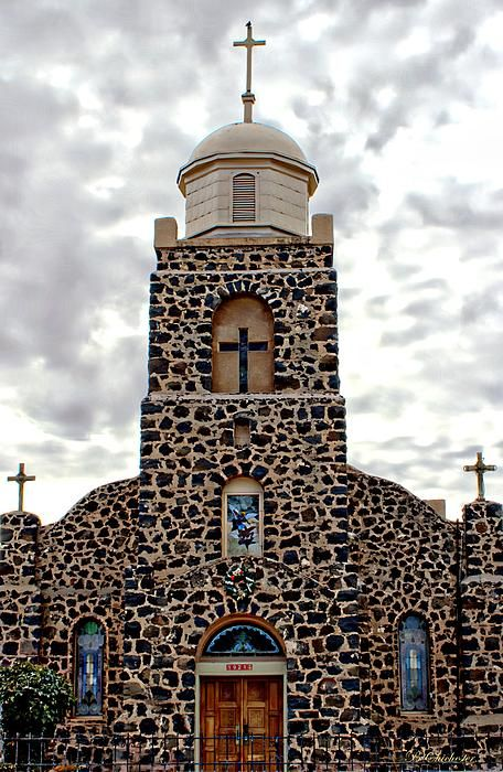 Stone Catholic Church on Highway 28 (Camino Real) in San Miguel, La Mesa, NM, located on the outskirts of Las Cruces. Photograph by Barbara Chichester