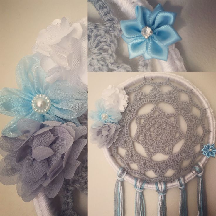 Blue grey and white dream catcher