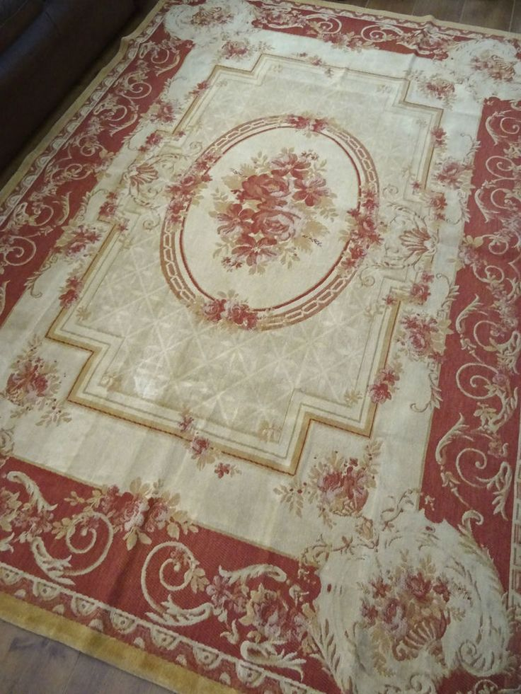 LAURA ASHLEY RUG AUBUSSON WOOL MIX shabby cottage chic VICTORIAN TAPESTRY *HUGE this is EXACTLY what I am looking for!