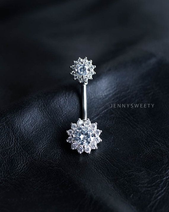 CZ belly ring, flower belly button ring, belly piercing, belly jewelry, lotus unique navel ring