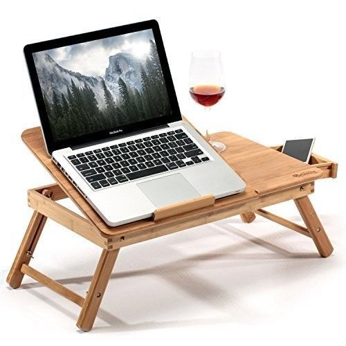 Laptop Desk For Bed Breakfast Serving Tray With Tilting Top Drawer Bamboo