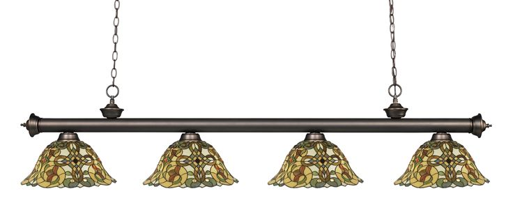 Riviera Olde Bronze Olde Bronze Tiffany Pool Table Light Traditional charm defines this four light fixture. The bar is finished in olde bronze, and is paired beautifully with four multi colored tiffan