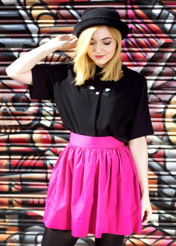 Lazy Oaf Black Pather shirt and Compañia Fantastica Copacabana skirt in magenta from www.thunderegg.co.uk Model: Beth Photo: www.katetrevor.co.uk