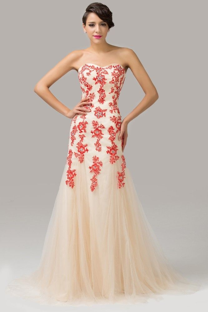 Evening dress with red lace