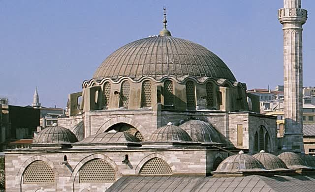 The Rüstem Pasa Camii is located above the Hasircilar Carsisi, the Weavers' Market, in the Eminönü district next to the Golden Horn, in the...